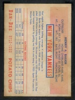 1954 Dan-Dee Potato Chips Hank Bauer New York Yankees - Back
