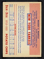 1954 Dan-Dee Potato Chips Mickey Mantle New York Yankees - Back