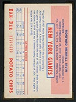 1954 Dan-Dee Potato Chips Monte Irvin New York Giants - Back