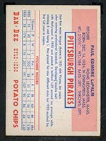 1954 Dan-Dee Potato Chips Paul LaPalm Pittsburgh Pirates - Back