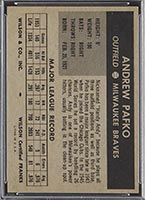 1954 Wilson Franks Andy Pafko Milwaukee Braves - Back