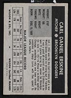 1954 Wilson Franks Carl Erskine Brooklyn Dodgers - Back