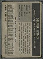 1954 Wilson Franks Del Ennis Philadelphia Phillies - Back