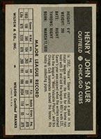 1954 Wilson Franks Hank Sauer Chicago Cubs - Back