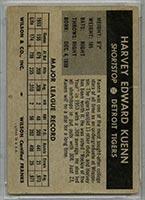 1954 Wilson Franks Harvey Kuenn Detroit Tigers - Back