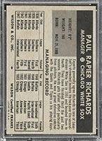 1954 Wilson Franks Paul Richards Chicago White Sox - Back