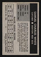 1954 Wilson Franks Sammy White Boston Red Sox - Back