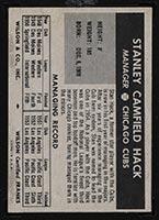 1954 Wilson Franks Stan Hack Chicago Cubs - Back