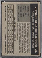 1954 Wilson Franks Vern Stephens Baltimore Orioles - Back
