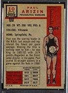 1957-1958 Topps #10 Paul Arizin Philadelphia Warriors - Back