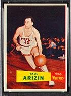 1957-1958 Topps #10 Paul Arizin Philadelphia Warriors - Front