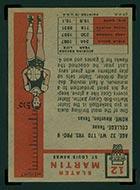 1957-1958 Topps #12 Slater Martin St. Louis Hawks - Back