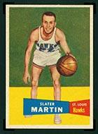 1957-1958 Topps #12 Slater Martin St. Louis Hawks - Front