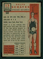 1957-1958 Topps #13 Dolph Schayes Syracuse Nationals - Back