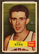 1957-1958 Topps #14 Dick Atha Detroit Pistons - Front