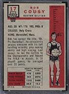1957-1958 Topps #17 Bob Cousy Boston Celtics - Back