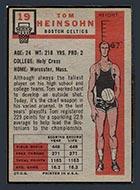 1957-1958 Topps #19 Tom Heinsohn Boston Celtics - Back