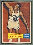 1957-1958 Topps #1 Nat Clifton Detroit Pistons - Front