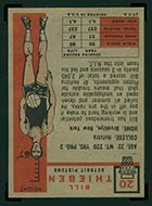 1957-1958 Topps #20 Bill Thieben Detroit Pistons - Back