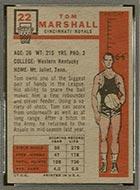 1957-1958 Topps #22 Tom Marshall Cincinnati Royals - Back