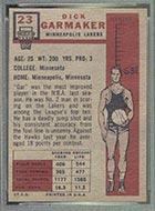 1957-1958 Topps #23 Dick Garmaker Minneapolis Lakers - Back