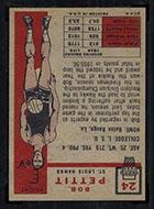 1957-1958 Topps #24 Bob Pettit St. Louis Hawks - Back