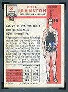 1957-1958 Topps #3 Neil Johnston Philadelphia Warriors - Back