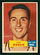 1957-1958 Topps #4 Carl Braun New York Knicks - Front