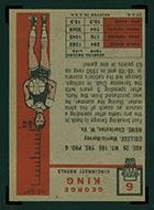 1957-1958 Topps #6 George King Cincinnati Royals - Back