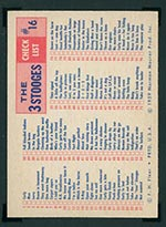1959 Fleer Three Stooges #16 Tight shoes (checklist) - Back