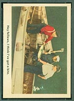 1959 Fleer Three Stooges #19 Curly gets a bite - Front