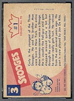 1959 Fleer Three Stooges #1 Curly - White Back