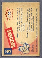 1959 Fleer Three Stooges #20 Fancy Finish - White Back