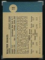 1961-1962 Fleer #11 Walter Dukes Detroit Pistons - Back