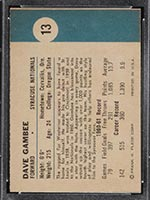 1961-1962 Fleer #13 Dave Gambee Syracuse Nationals - Back