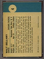 1961-1962 Fleer #4 Walt Bellamy Chicago Packers - Back