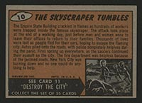 1962 Topps Mars Attacks #10 The Skyscraper Tumbles - Back