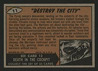 "1962 Topps Mars Attacks #11 ""Destroy the City"" - Back"