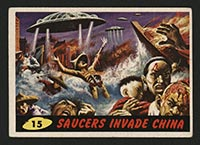 1962 Topps Mars Attacks #15 Saucers Invade China - Front
