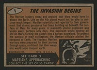 1962 Topps Mars Attacks #1 The Invasion Begins - Back