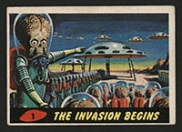 1962 Topps Mars Attacks #1 The Invasion Begins - Front
