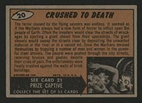 1962 Topps Mars Attacks #20 Crushed to Death - Back