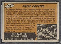 1962 Topps Mars Attacks #21 Prize Captive - Back