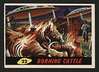 1962 Topps Mars Attacks #22 Burning Cattle - Front