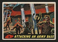 1962 Topps Mars Attacks #3 Attacking an Army Base - Front