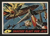 1962 Topps Mars Attacks #4 Saucers Blast Our Jets - Front