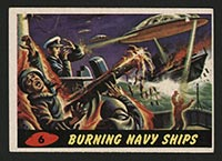 1962 Topps Mars Attacks #6 Burning Navy Ships - Front