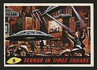 1962 Topps Mars Attacks #8 Terror in Times Square - Front