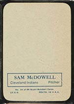 1969 Topps Supers #14 Sam McDowell Cleveland Indians - Back