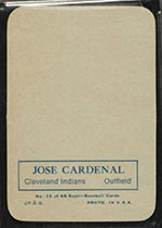1969 Topps Supers #15 Jose Cardenal Cleveland Indians - Back